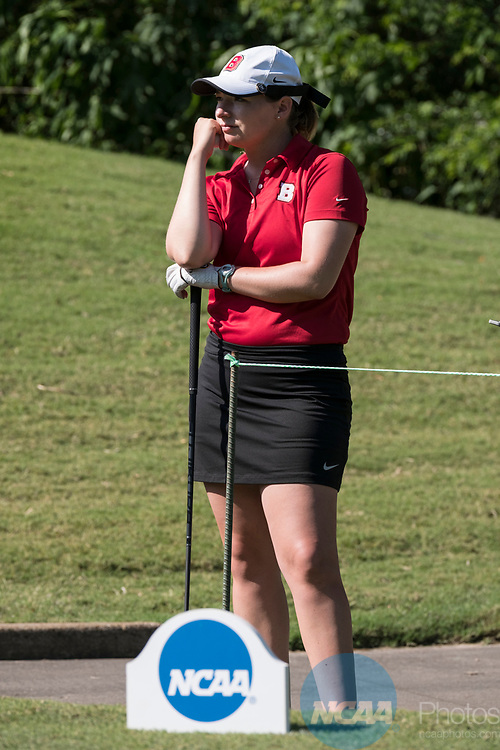 HOUSTON, TX - MAY 12: Christina Herbert of Bridgewater College waits to tee off during the Division III Women's Golf Championship held at Bay Oaks Country Club on May 12, 2017 in Houston, Texas. (Photo by Rudy Gonzalez/NCAA Photos/NCAA Photos via Getty Images)