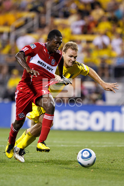 3 JULY 2010:  Patrick Nyarko of Chicago Fire (14) and Chad Marshall of the Columbus Crew (14) during MLS soccer game between Chicago Fire vs Columbus Crew at Crew Stadium in Columbus, Ohio on July 3, 2010.