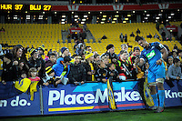 Jerome Kaino gets a selfy with fans after the Super Rugby match between the Hurricanes and Blues at Westpac Stadium, Wellington, New Zealand on Saturday, 2 July 2016. Photo: Dave Lintott / lintottphoto.co.nz