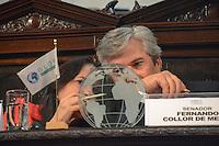 RIO DE JANEIRO-15/06/2012- Senador Fernando Collor de Mello na abertura da I Cupula Mundial de Legisladores,evento paralelo a Rio20 que acontece ate o dia 17 de junho na Assembleia Legislativa do Rio de Janeiro (Alerj). O encontro reunira cerca de 300 parlamentares de 130 paises, entre presidentes de parlamentos, congressos e senados. O objetivo é discutir temas como a elaboracao de leis para garantir o cumprimento dos compromissos elencados pelos chefes de Estado durante a Rio+20 e o controle e acompanhamento da execucao destes compromissos,na ALERJ,centro do Rio.Foto:Marcelo Fonseca-Brazil Photo Press