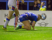 23rd March 2018, Halliwell Jones Stadium, Warrington, England; Betfred Super League rugby, Warrington Wolves versus Wakefield Trinity; Tom Lineham scores the opening try of the game for Warrington