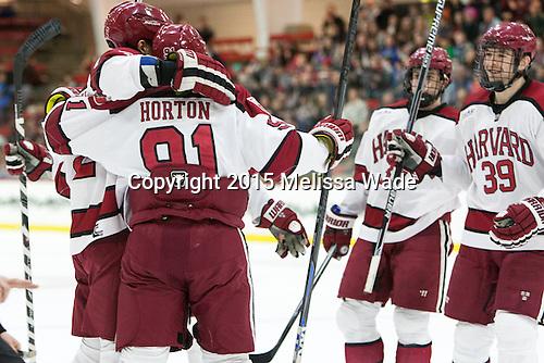 Tyler Moy (Harvard - 2), Jake Horton (Harvard - 91), (Bergin, Hart) - The Harvard University Crimson defeated the visiting Princeton University Tigers 5-0 on Harvard's senior night on Saturday, February 28, 2015, at Bright-Landry Hockey Center in Boston, Massachusetts.