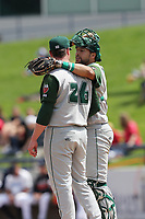 Fort Wayne TinCaps catcher Webster Rivas (8) talks with pitcher Logan Allen (26) on the mound during the Midwest League baseball game against the West Michigan Michigan Whitecaps on April 26, 2017 at Fifth Third Ballpark in Comstock Park, Michigan. West Michigan defeated Fort Wayne 8-2. (Andrew Woolley/Four Seam Images)