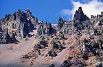 Rugged steep rock walls of the volcanic crater, Crater Lake National Park, Oregon