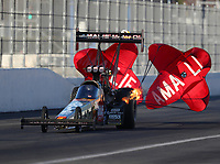Feb 9, 2018; Pomona, CA, USA; NHRA top fuel driver Terry McMillen during qualifying for the Winternationals at Auto Club Raceway at Pomona. Mandatory Credit: Mark J. Rebilas-USA TODAY Sports