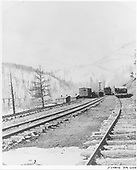 Grays, a D&amp;RG water stop on the east side of Marshall Pass.  There is distant activity on all three tracks and most of the structures can be seen in this MP 234 view looking west at Mt. Ouray.  A westbound passenger train is in the view on the center main track.  The trestle over Grays Creek is at the left center edge.  It was replaced by a fill some time after this photo.<br /> D&amp;RGW  Grays, CO  Taken by Mellen, George E.