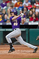 LSU Tigers third baseman Conner Hale (20) follows through on his swing during the NCAA baseball game against the Baylor Bears on March 7, 2015 in the Houston College Classic at Minute Maid Park in Houston, Texas. LSU defeated Baylor 2-0. (Andrew Woolley/Four Seam Images)