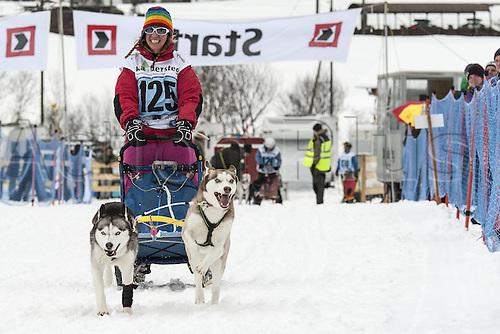 20.02.2016. Kandersteg, Bern, Switzerland. Swiss dog-sled championships.  Liliane Fankhauser (SUI)