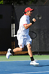 WINSTON SALEM, NC - MAY 22: Matt Mendez of the Ohio State Buckeyes celebrates a point against the Wake Forest Demon Deacons during the Division I Men's Tennis Championship held at the Wake Forest Tennis Center on the Wake Forest University campus on May 22, 2018 in Winston Salem, North Carolina. Wake Forest defeated Ohio State 4-2 for the national title. (Photo by Jamie Schwaberow/NCAA Photos via Getty Images)