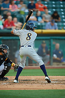 Magneuris Sierra (8) of the New Orleans Baby Cakes bats against the Salt Lake Bees at Smith's Ballpark on June 11, 2018 in Salt Lake City, Utah. New Orleans defeated Salt Lake 6-5.  (Stephen Smith/Four Seam Images)