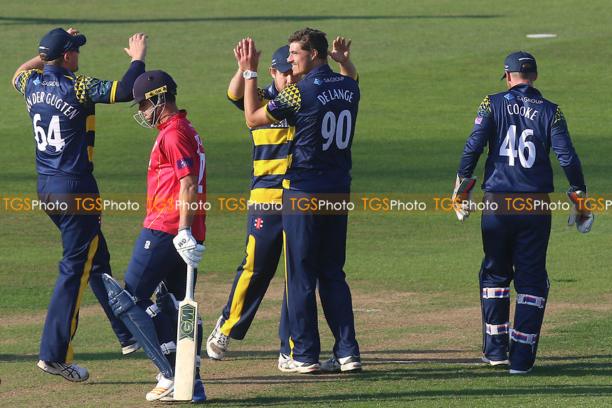 Marchant de Lange of Glamorgan celebrates taking the wicket of Ryan ten Doeschate during Glamorgan vs Essex Eagles, Royal London One-Day Cup Cricket at the SSE SWALEC Stadium on 7th May 2017