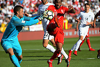 New Zealand's Stefan Narinovic saves under pressure from Peru's Christian Cueva during the 2018 FIFA World Cup Russia first-leg playoff football match between the NZ All Whites and Peru at Westpac Stadium in Wellington, New Zealand on Saturday, 11 November 2017. Photo: Dave Lintott / lintottphoto.co.nz