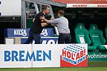 27.06.2020, wohninvest , nphgm001, WESERSTADION, Bremen, Ligaspiel, 1. Bundesliga, SV Werder Bremen vs 1. FC Koeln, im Bild v.l. Frank Baumann (Geschaeftsfuehrer Sport, Bremen), Horst Heldt (Sportchef, Koeln)<br /> Foto: Joachim Sielski/Sielski-Press/Pool/gumzmedia/nordphoto<br /><br />DFL regulations prohibit any use of photographs as image sequences and/or quasi-video.<br />EDITORIAL USE ONLY<br />National and international News-Agencies OUT.