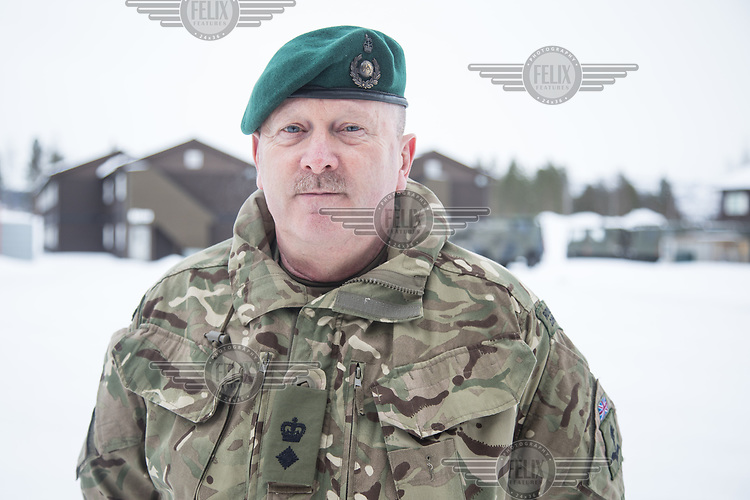 Luitenant Colonel West, Royal Marines, is in charge of the British Arctic training program Clockwork, at Bardufoss in Norway.  British Merlin helicopter practice in the Arctic,  near Bardufoss, Norway. <br /> <br /> 845 Naval Air Squadron is a squadron of the Royal Navy's Fleet Air Arm. Part of the Commando Helicopter Force, it is a specialist amphibious unit operating the Leonardo Commando Merlin Mk3 helicopter and provides troop transport and load lifting support to 3 Commando Brigade Royal Marines.<br /> <br /> ©Fredrik Naumann/Felix Features