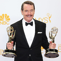 LOS ANGELES, CA, USA - AUGUST 25: Actor Bryan Cranston, winner of Outstanding Drama Series Award and Outstanding Lead Actor in a Drama Series for 'Breaking Bad' poses in the press room at the 66th Annual Primetime Emmy Awards held at Nokia Theatre L.A. Live on August 25, 2014 in Los Angeles, California, United States. (Photo by Celebrity Monitor)