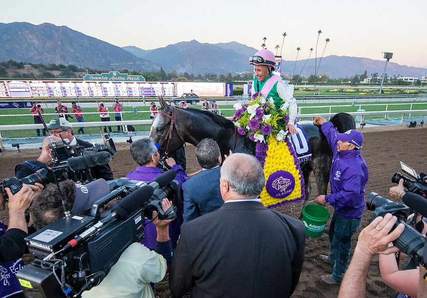 ARCADIA, CA - NOVEMBER 05: Mike Smith, aboard Arrogate #10, after winning the Breeders' Cup Classic during day two of the 2016 Breeders' Cup World Championships at Santa Anita Park on November 5, 2016 in Arcadia, California. (Photo by Alex Evers/Eclipse Sportswire/Breeders Cup)
