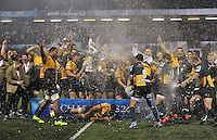 The Northampton Saints team celebrate becoming Amlin Challenge Cup winners. Amlin Challenge Cup Final, between Bath Rugby and Northampton Saints on May 23, 2014 at the Cardiff Arms Park in Cardiff, Wales. Photo by: Patrick Khachfe / Onside Images