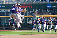 TCU Horned Frogs outfielders Dane Steinhagen (10), Austen Wade (8) and Josh Watson (7) celebrate beating the Texas Tech Red Raiders in Game 3 of the NCAA College World Series on June 19, 2016 at TD Ameritrade Park in Omaha, Nebraska. TCU defeated Texas Tech 5-3. (Andrew Woolley/Four Seam Images)
