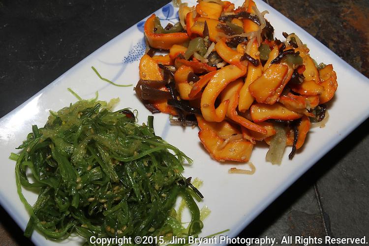 Japanese Calamari salad and Seaweed Salad. ©2015. Jim Bryant Photo. All Rights Reserved.