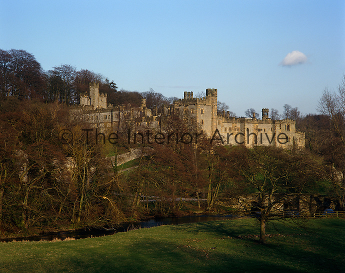 A view of the castellated 14th century Haddon Hall in the Derbyshire hills