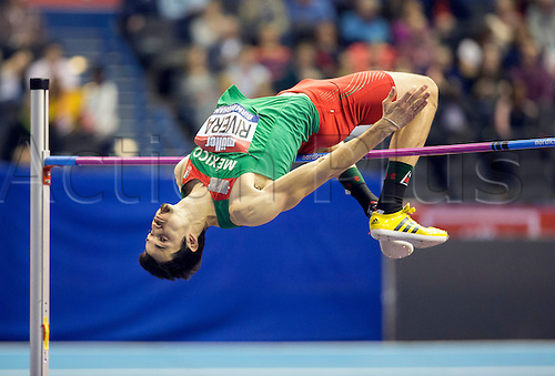 February 18th 2017,  Birmingham, Midlands, England; IAAF The Müller Indoor Grand Prix Athletics meeting; Edgar Rivera (MEX) competing in the final of the Men's High Jump