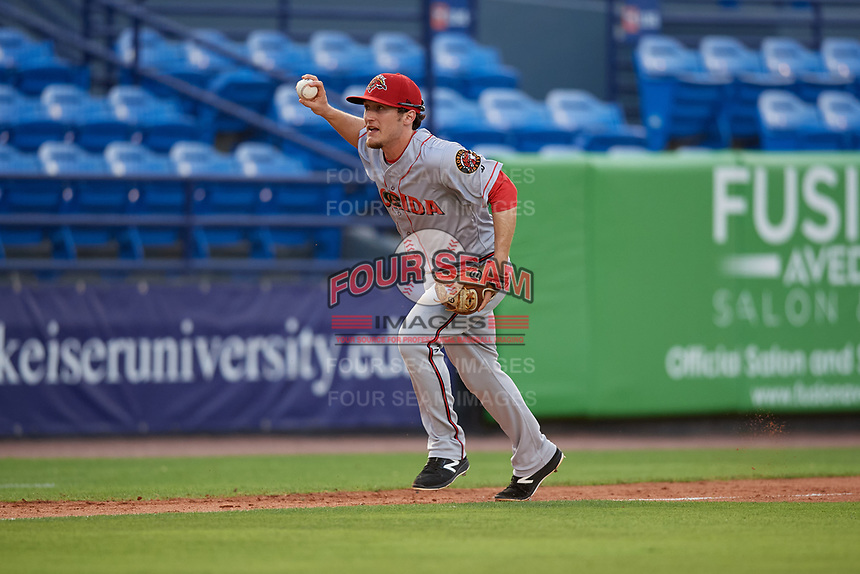 Florida Fire Frogs third baseman Riley Delgado (8) in a run down during a Florida State League game against the St. Lucie Mets on April 12, 2019 at First Data Field in St. Lucie, Florida.  Florida defeated St. Lucie 10-7.  (Mike Janes/Four Seam Images)