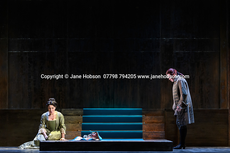 """London, UK. 04.03.2020. English Touring Opera presents """"Giulio Cesare"""", by George Friderich Handel, at the Hackney Empire, prior to going on tour in the UK. Directed by James Conway, with design by Cordelia Chisholm and lighting design by Mark Howland. The Old Street Band is conducted by Jonathan Peter Kenny. The cast is: Clint van der Linde (Giulio Cesare), Susanna Hurrell (Cleopatra), Paul-Antoine Benos-Djian (Tolomeo), Ann Taylor, (Cornelia), Kitty Whately (Sesto), Edward Hawkins (Achilla), Alexander Simpson (Nireno), Bradley Travis (Curio). Photograph © Jane Hobson."""