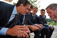 Austria, Kitzbuhel, Juli 15, 2015, Tennis, Davis Cup, Dutch team, Official dinner, watching Facebook ltr: Jesse Huta Galung, Robin Haase,Thiemo de Bakker, jean-Julien Rojer and stringer Ralf Pieterman<br /> Photo: Tennisimages/Henk Koster