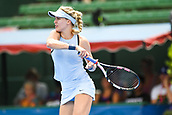 11th January 2018,  Kooyong Lawn Tennis Club, Kooyong, Melbourne, Australia; Priceline Pharmacy Kooyong Classic tennis tournament; Eugenie Bouchard of Canada returns the ball to Destanee Aiava of Australia