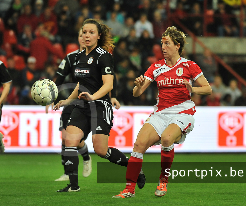 20131009 - LIEGE , BELGIUM : Glasgow Rachel Corsie (left) pictured with Standard's Aline Zeler during the female soccer match between STANDARD Femina de Liege and  GLASGOW City LFC , in the 1/16 final ( round of 32 ) first leg in the UEFA Women's Champions League 2013 in stade maurice dufrasne - Sclessin in Liege. Wednesday 9 October 2013. PHOTO DAVID CATRY