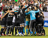 CHICAGO, IL - JULY 7: Mexican players celebrate their win during a game between Mexico and USMNT at Soldier Field on July 7, 2019 in Chicago, Illinois.