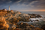 Sunrise on Portland Head Light, near Portland, ME, USA