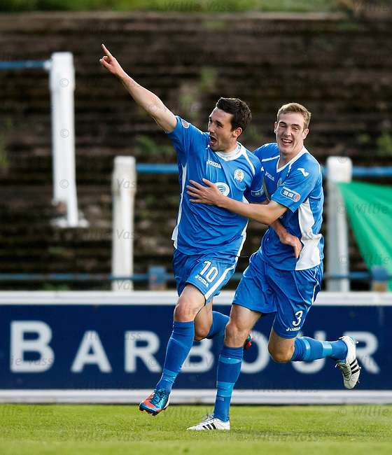 Nicky Clark celebrates his goal for QOS with Kevin Holt