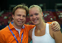 Moskou, Russia, Februari 7, 2016,  Fed Cup Russia-Netherlands, Kiki Bertens (NED) with Erik Poel<br /> Photo: Tennisimages/Henk Koster
