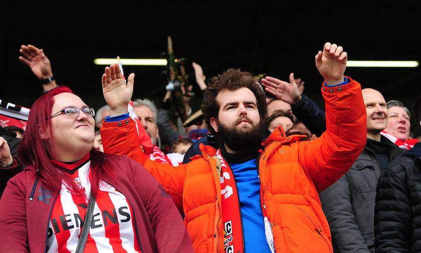 Lincoln City fans during the first half<br /> <br /> Photographer Chris Vaughan/CameraSport<br /> <br /> Emirates FA Cup Fifth Round - Burnley v Lincoln City - Saturday 18th February 2017 - Turf Moor - Burnley <br />  <br /> World Copyright &copy; 2017 CameraSport. All rights reserved. 43 Linden Ave. Countesthorpe. Leicester. England. LE8 5PG - Tel: +44 (0) 116 277 4147 - admin@camerasport.com - www.camerasport.com