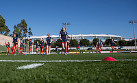 Carson, CA.  - February 15, 2016: The U.S. Women's U-17 National team defeated Japan 2-1 to win the 2016 Women's Nike Friendlies at StubHub Center's Mooch field.
