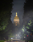 July 5, 2020; Notre Dame Avenue in the overnight hours of the Independence Day holiday. Haze is from heavy fireworks smoke in the area. (Photo by Matt Cashore/University of Notre Dame)