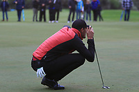 Sebastian Heisele (GER) on the 18th green during Round 4 of the Challenge Tour Grand Final 2019 at Club de Golf Alcanada, Port d'Alcúdia, Mallorca, Spain on Sunday 10th November 2019.<br /> Picture:  Thos Caffrey / Golffile<br /> <br /> All photo usage must carry mandatory copyright credit (© Golffile | Thos Caffrey)