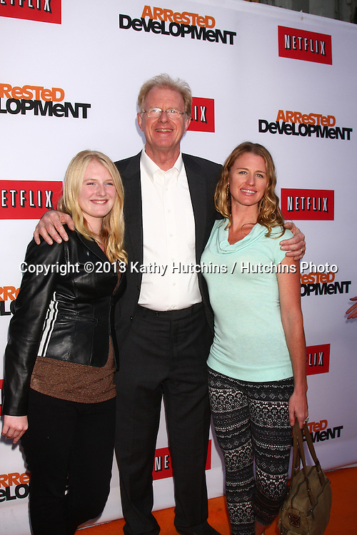"LOS ANGELES - APR 29:  Ed Begley Jr, and daughters arrives at the ""Arrested Development"" Los Angeles Premiere at the Chinese Theater on April 29, 2013 in Los Angeles, CA"