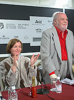 """Aug 25th File Photo of recently deceased <br /> Spanish actor FRANCISCO RABAL (R)  pose for a photo  before receiving a Special Grand Prize of the Americas from  the World Film Festival'sViice President DaniËle Cauchard,(L) August 25th, 20001 in Montreal , Canada.<br /> , Rabal just died on the plane back home<br /> <br /> <br /> Born in ¡guilas, Spain in 1925, Francisco Rabal . <br /> In 1950 he won his first real stage roles. Luis BuÒuel saw him in Historias de la radio and decided to cast him in the lead role of his new film to be shot in Mexico, NAZARÕN. This marked the beginning not only of Rabal's international career but also his lifelong friendship and collaboration with BuÒuel - including such masterpieces as VIRIDIANA (1961) and BELLE DU JOUR (1967).<br /> As a result of his performances in BuÒuel's early films, Rabal was sought after by many of the era's top international directors - Antonioni (THE ECLIPSE), Rivette (THE NUN), Visconti (THE WITCHES) - as well as directors of the so-called """"new Spanish cinema"""", in particular Carlos Saura, Miguel Picazo, Antonio Bardem and Jorge Grau. He made his American feature debut in 1977 in William Friedkin's SORCERER and won best actor awards at several festivals, including Cannes 1984 for his role in Mario Camus's THE HOLY INNOCENTS (!984) and the Montreal World Film Festival for his performance in Alain Tanner's THE MAN WHO LOST HIS SHADOW (1991).<br /> Rabal remained very active through the 1980s and 1990s, appearing in films by Pedro AlmÛdvar, Saura, Eliseo Subiela and Arturo Ripstein. In 1999 he played the title role in Saura's GOYA IN BORDEAUX shown at the 1999 Montreal Festival, a performance which won international critical acclaim.<br /> Rabal's cinematic heritage continues in the persons of his actress-daughter Teresa Rabal, director-son Benito Rabal and actor-grandson Liberto Rabal.<br /> <br /> Photo by Pierre Roussel / Getty Images News Service (ON SPEC)<br /> <br /> <br /> NOTE : Nikon D-1 JPEG opened w"""