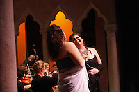 KATONAH, NY - JUL 10: Members of the St. Luke's Orchestra led by Will Crutchfield and opera singers Angela Meade, Keri Alkema, Emmanuel Di Vilarosa and Daniel Mobbs perform Bellini's Norman at Caramoor's Venetian Theater on Saturday, July, 10, 2010, in Katonah, NY. (Photo by Landon Nordeman)