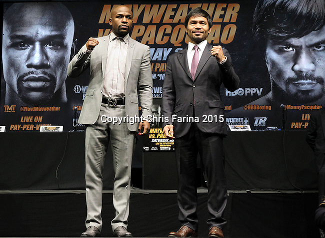 March 11, 2015, Los Angeles ,Calif. ---  Superstar Manny Pacquiao and Floyd Mayweather attend a Red Carpet press conference Wednesday at the Nokia Theatre in Los Angeles for their upcoming 12-round welterweight world championship unification mega-fight. <br />