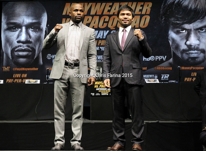 March 11, 2015, Los Angeles ,Calif. ---  Superstar Manny Pacquiao and Floyd Mayweather attend a Red Carpet press conference Wednesday at the Nokia Theatre in Los Angeles for their upcoming 12-round welterweight world championship unification mega-fight. <br />   Promoted by Mayweather Promotions and Top Rank Inc. , this pay-per-view telecast will be co-produced and co-distributed by HBO Pay-Per-View&reg; and SHOWTIME PPV&reg; Saturday, May 2 beginning at 9:00 p.m. ET/ 6:00 p.m. PT from the MGM Grand Garden Arena in Las Vegas. <br />   ---   Photo Credit : Chris Farina - Top Rank (no other credit allowed)  copyright 2015