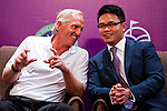 HAIKOU, CHINA - OCTOBER 27:  (L-R) Golf legend Greg Norman of Australia and Dr. Ken Chu, Vice Chairman of Mission Hills Group laugh during the opening press conference of the Mission Hills Star Trophy on October 27, 2010 in Haikou, China. The Mission Hills Star Trophy is Asia's leading leisure liflestyle event and features Hollywood celebrities and international golf stars. Photo by Victor Fraile / The Power of Sport Images