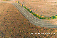 63801-13116 Partially harvested corn field in fall-aerial  Marion Co. IL