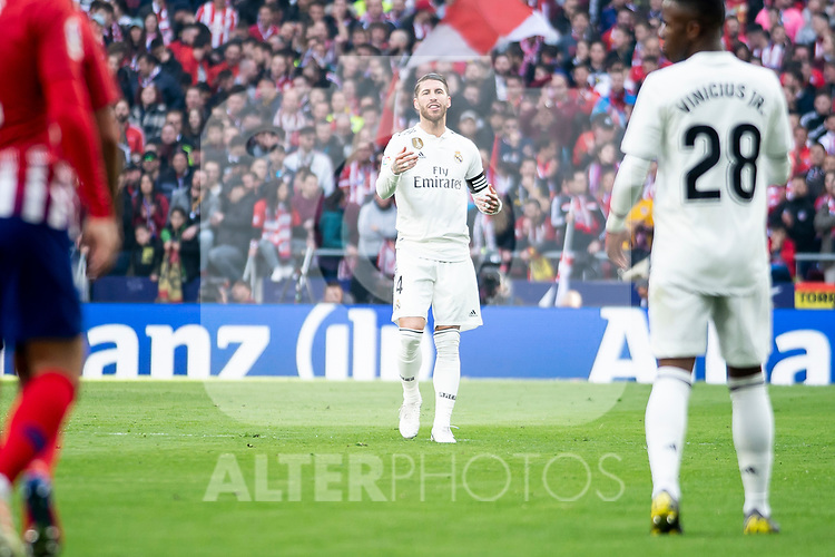 Sergio Ramos of Real Madrid during La Liga match between Atletico de Madrid and Real Madrid at Wanda Metropolitano in Madrid Spain. February 09, 2018. (ALTERPHOTOS/Borja B.Hojas)