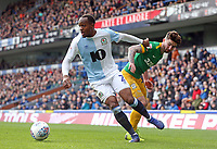 Blackburn Rovers' Ryan Nyambe gets away from Preston North End's Sean Maguire<br /> <br /> Photographer Rich Linley/CameraSport<br /> <br /> The EFL Sky Bet Championship - Blackburn Rovers v Preston North End - Saturday 9th March 2019 - Ewood Park - Blackburn<br /> <br /> World Copyright © 2019 CameraSport. All rights reserved. 43 Linden Ave. Countesthorpe. Leicester. England. LE8 5PG - Tel: +44 (0) 116 277 4147 - admin@camerasport.com - www.camerasport.com