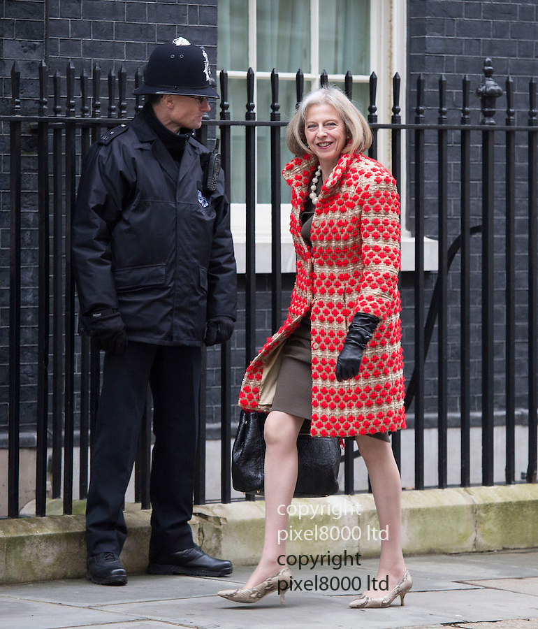 Day before the Budget 2013J..Theresa May outside Downing Street today 19.3.13.....Pic by Gavin Rodgers/Pixel 8000 Ltd