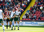 Jack O'Connell of Sheffield Utd gets a header on target during the Championship League match at Bramall Lane Stadium, Sheffield. Picture date 19th August 2017. Picture credit should read: Simon Bellis/Sportimage