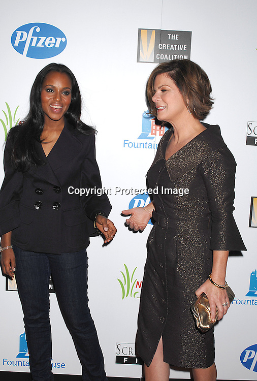 """Kerry Washington and Marcia Gay Harden..posing for photographers at The New York Premiere of ..""""Canvas"""" starring Marcia Gay Harden and Joe Pantoliano..on October 9, 2007 at The French Institute. ....photo by Robin Platzer, Twin Images....212-935-0770"""